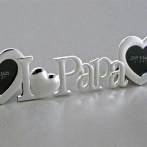 i love papa frame with 2 heart openings
