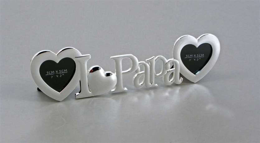 I Love Papa Frame With 2 Heart Openings Key Centre Engravables